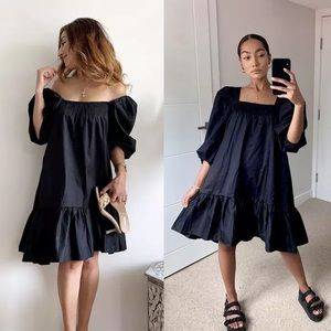H&M Black Puff Sleeve Mini Cotton Black Dress